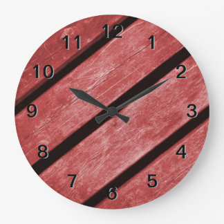 Image of Red Planks of Wood Clock