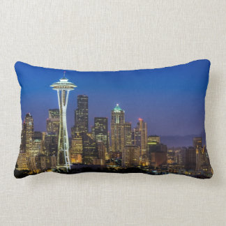 Image of Seattle Skyline in morning hours. Lumbar Pillow