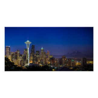 Image of Seattle Skyline in morning hours. Poster