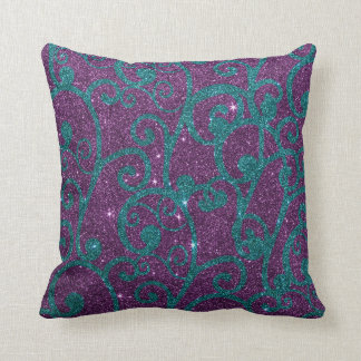 Image of swirly purple and turquoise glitter pillows