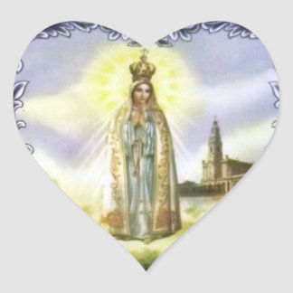 Image of the apparition Our Lady of Fatima Heart Sticker