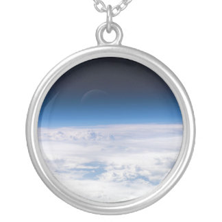 Image of the Exosphere of the Earth's Atmosphere Round Pendant Necklace
