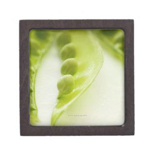 Image of three open pea pods, extreme close-up keepsake box