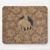 Image of tooled leather work mouse pad