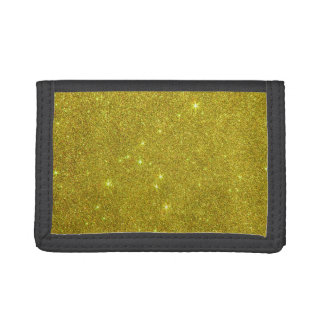 Image of Trendy Bright Yellow Glitter Trifold Wallet