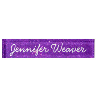 Image of Trendy Deep Purple Glitter Desk Name Plate