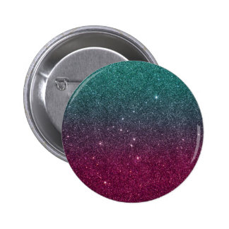 Image of trendy pink and turquoise glitter pinback button