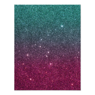 Image of trendy pink and turquoise glitter card