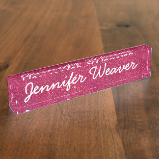 Image of Trendy Pink Glitter Name Plate