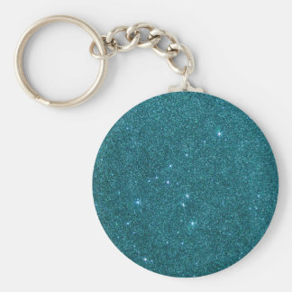 Image of trendy teal glitter basic round button keychain
