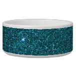 Image of trendy teal glitter dog bowl