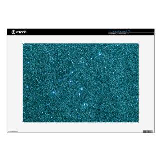 Image of trendy teal glitter laptop skins