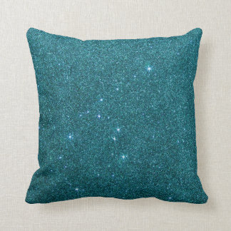Image of trendy teal glitter throw pillow