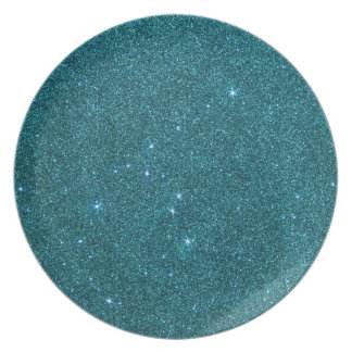 Image of trendy teal glitter party plate