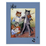 Image of  Vintage Cat Family Music Painting Poster