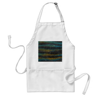 Image of yellow and turquoise Glitter Adult Apron