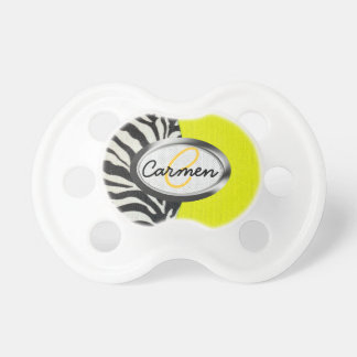 Image of zebra print and neon yellow monogram BooginHead pacifier