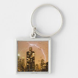 Image taken through rain splattered window Silver-Colored square keychain