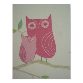 image with owls 4.25x5.5 paper invitation card