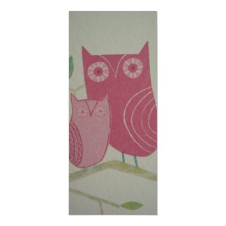 image with owls 4x9.25 paper invitation card