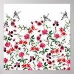 imagem de flores e passaros póster
