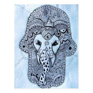 imagem de mão com cabeça de elefante postcard