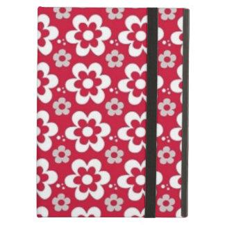 imagem  em vermelho com flores em branco cover for iPad air