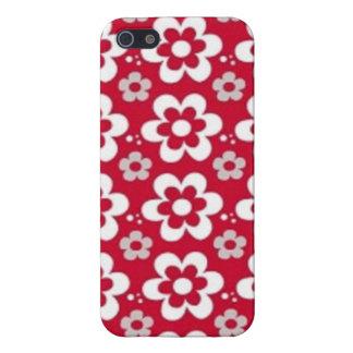 imagem  em vermelho com flores em branco cover for iPhone SE/5/5s