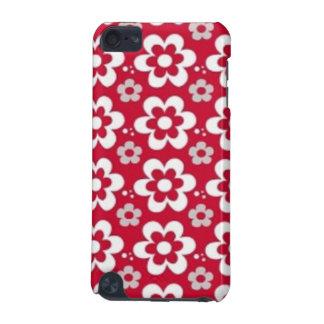 imagem  em vermelho com flores em branco iPod touch 5G case