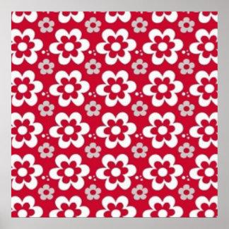 imagem  em vermelho com flores em branco poster