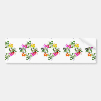 imagem floral em circulo bumper sticker