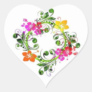 imagem floral em circulo heart sticker