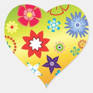 imagem flores variadas em fundo colorido heart sticker
