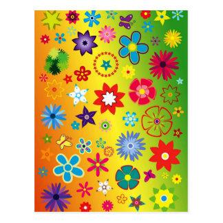 imagem flores variadas em fundo colorido postcard