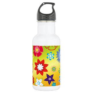 imagem flores variadas em fundo colorido stainless steel water bottle