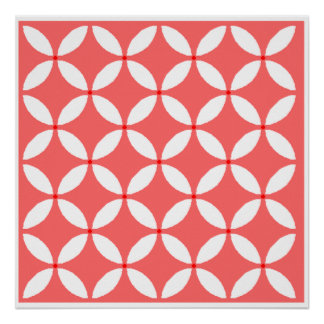 imagem formas geometricas  branco em fundo vermelh poster