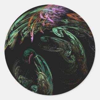 Imagen abstracta del pájaro pegatina redonda