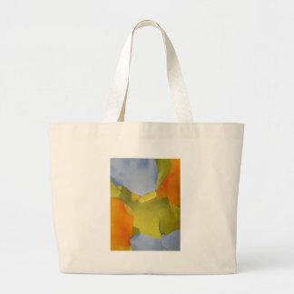 imagen abstracta verde anaranjada ligera y brillan bolsa tela grande