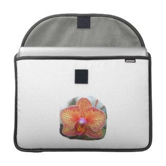 Imagen amarillo-naranja de la flor de la orquídea fundas para macbooks