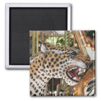 Imagen animal de la cabeza del jaguar del carrusel imán cuadrado