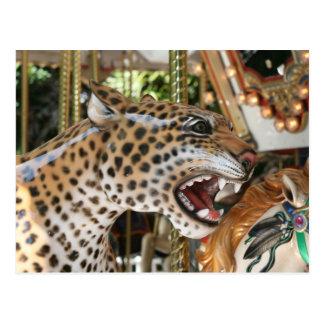 Imagen animal de la cabeza del jaguar del carrusel tarjetas postales