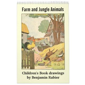 Imagen animal de la granja y de la selva de los calendario