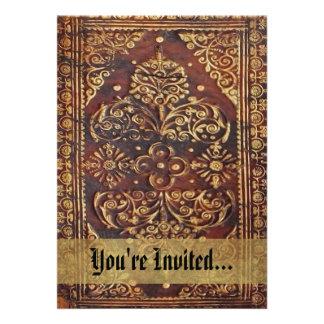 Imagen antigua del libro del vintage invitación personalizada