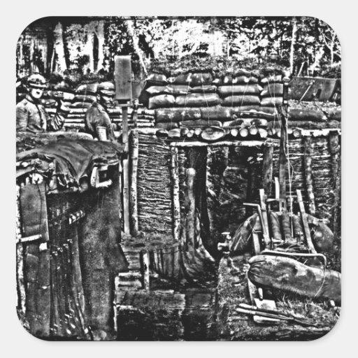 Imagen apenada del foso de WWI Pegatina Cuadrada