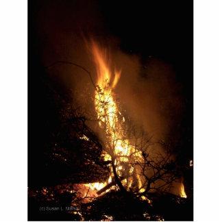 Imagen ardiente de la hoguera de la forma del homb esculturas fotográficas
