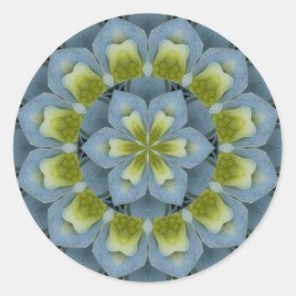 Imagen azul 2 de la mandala del Hydrangea Etiquetas Redondas