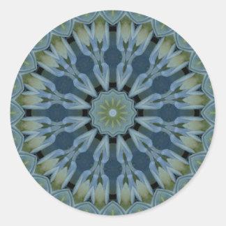 Imagen azul 5 de la mandala del Hydrangea Pegatinas Redondas