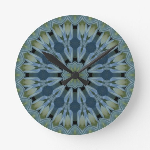 Imagen azul 5 de la mandala del Hydrangea Reloj Redondo Mediano