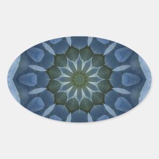 Imagen azul 9 de la mandala del Hydrangea Pegatina Óval