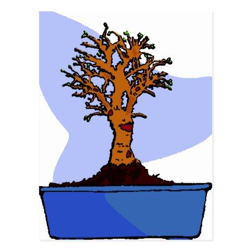 Imagen azul arreglada bonsais del gráfico del pote postales
